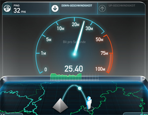 Screenshot eines Speedtests auf speedtest.net